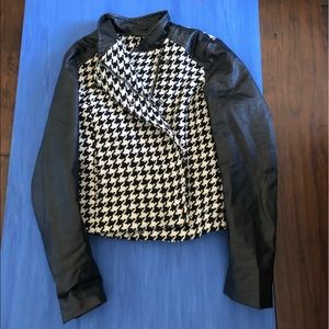 Black and white houndstooth leather jacket
